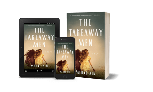 Image of The Takeaway Men cover on three objects: tablet, smart phone, and paperback
