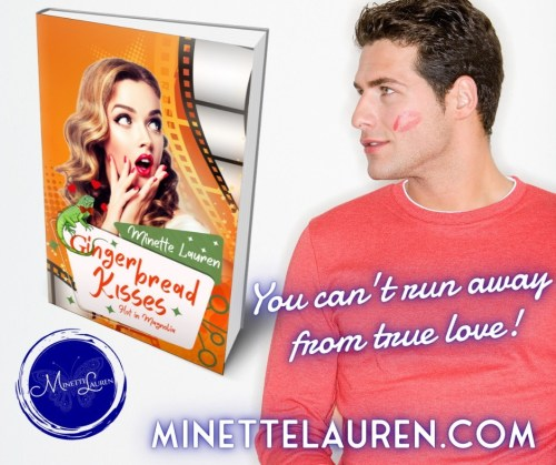 """Promo: Image of young man with head turned and lipstick print on cheek, looking at standing copy of book. """"You can't run away from true love!"""" minettelauren.com"""