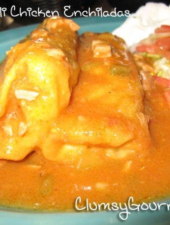 Green Chili Chicken Enchiladas easy mexican recipe