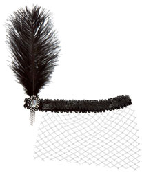 Feather Sequin Netted Flapper Headwrap - Black