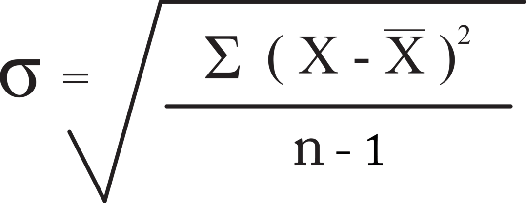 The formula for standard deviation. This standard deviation equation is the starting point for all calculations