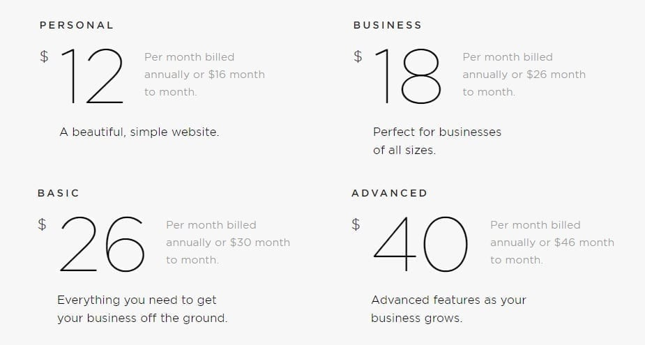 Squarespace offers a range of pricing options for personal, business, and commerce websites.