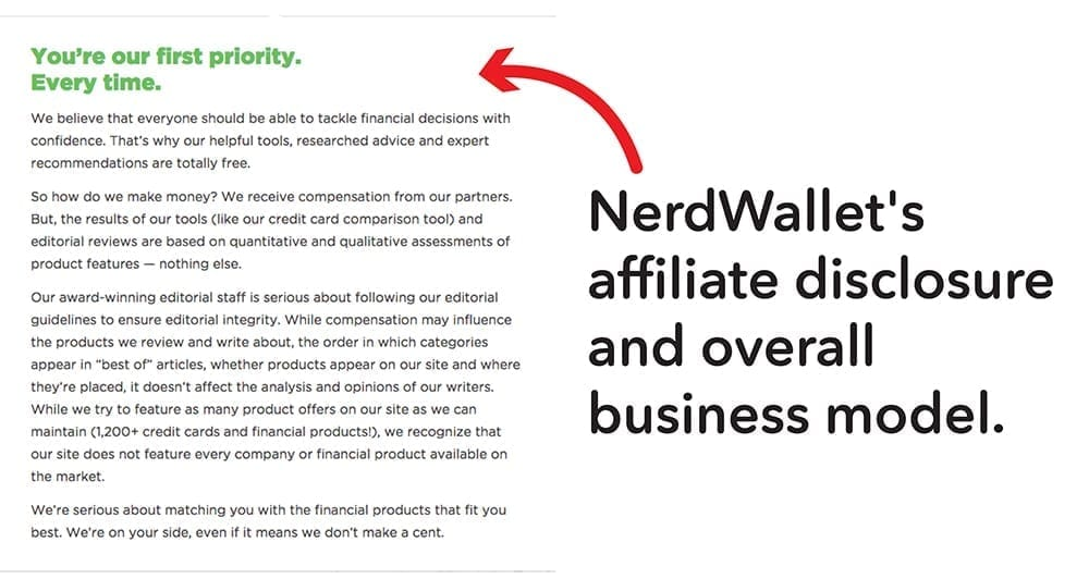 NerdWallet's affiliate disclosure is also a short description of their business model.