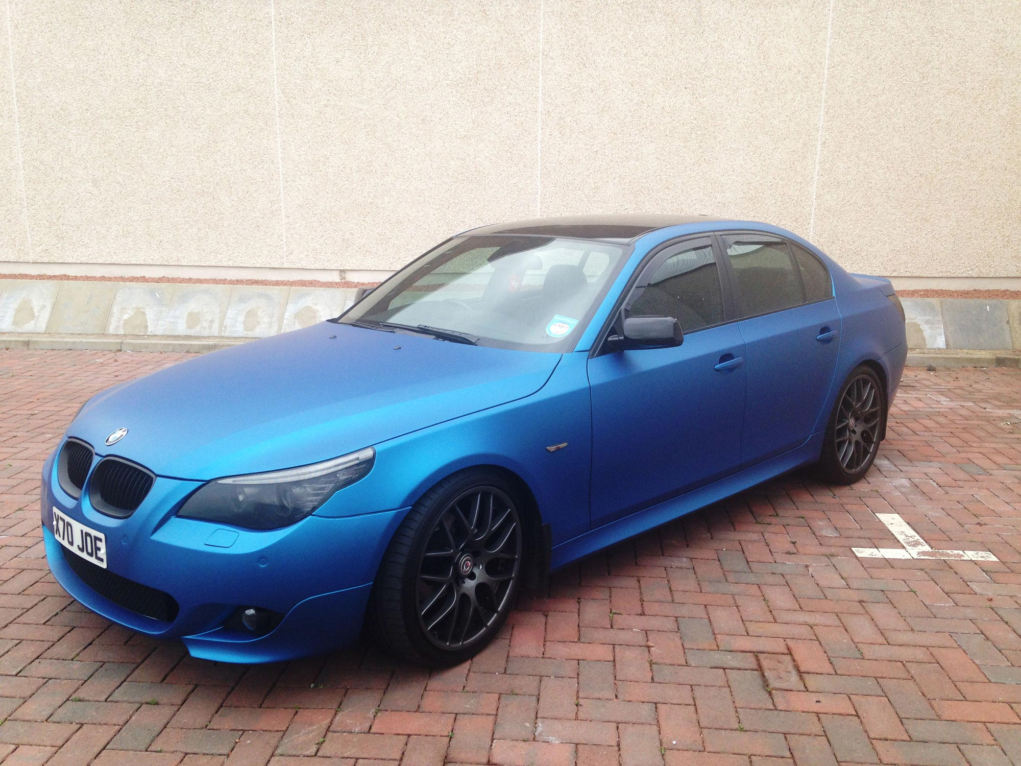 colour car metallic : Bmw 530d M Sport Colour Change Wrapped In Matt Metallic Blue With Matt Black Grill And Gloss Black Roof And Mirrors
