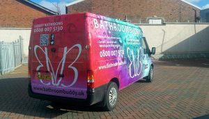 Bathroom Buddy Full Colour Digitally printed van wrap