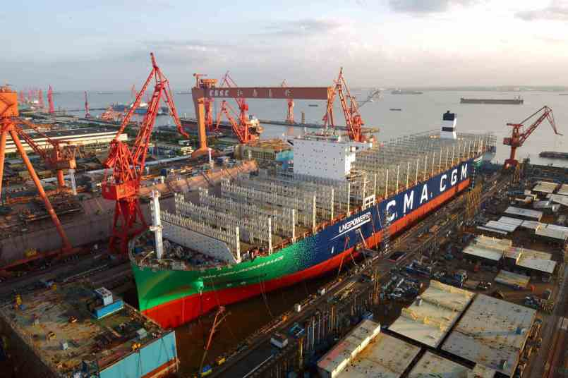 The CMA CGM JACQUES SAADE, the world's first 23,000 TEU powered by LNG