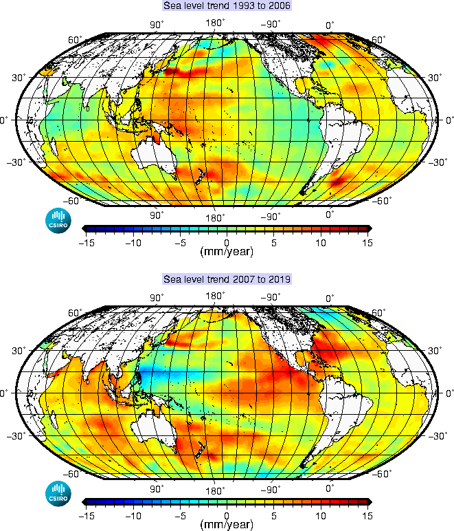 Plot of sea level trends from 1993 to 2003 and 2003 to 2013