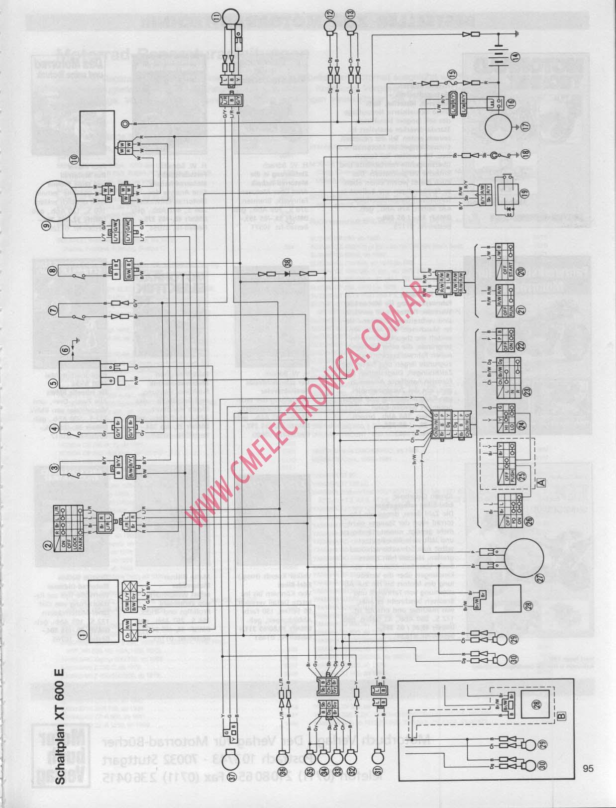 Diagrama Yamaha Xt600 E