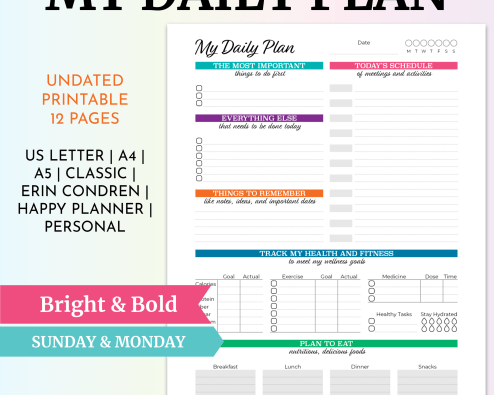 My Daily Plan - Bright & Bold