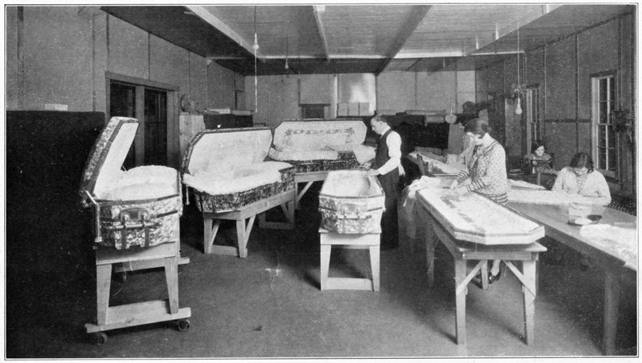 DeCamp trimming room, Cut No. 13 from Bib 52588 - DeCamp Consolidated Glass Casket Co., Muskogee, OK, USA.