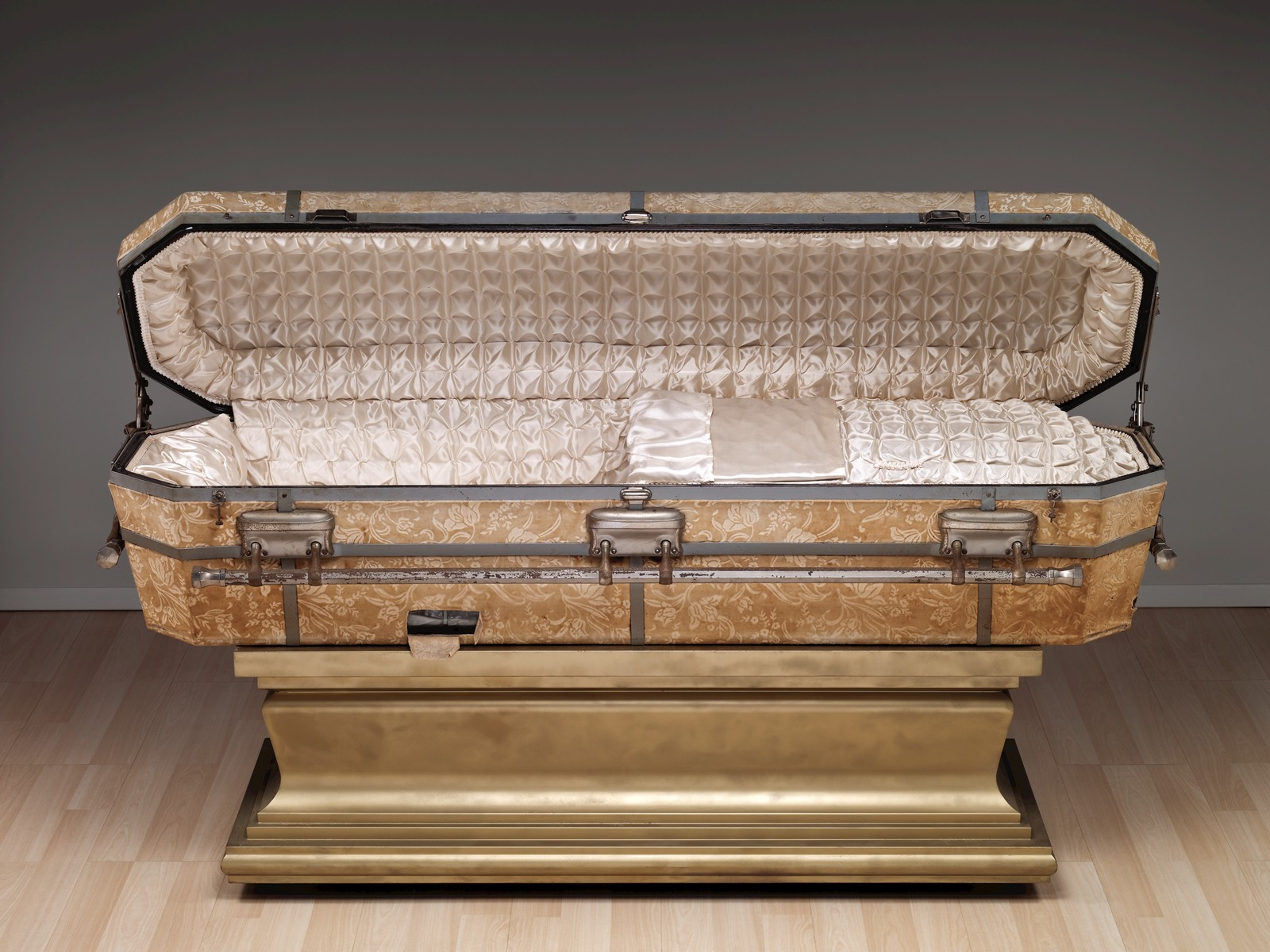 American Casket with Stand by DeCamp Consolidated Glass Casket Co., Factory