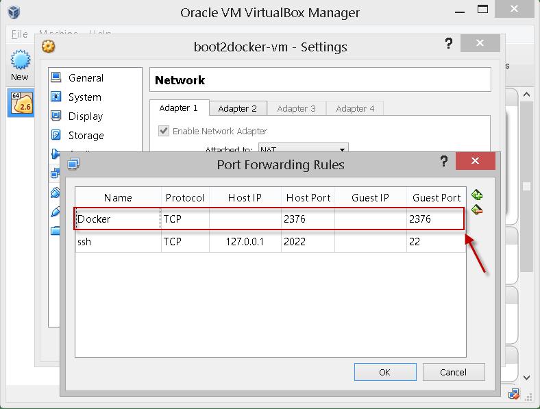 Updating boot2docker port-forward.