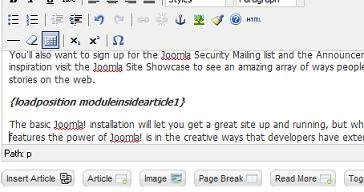 how to set position in joomla