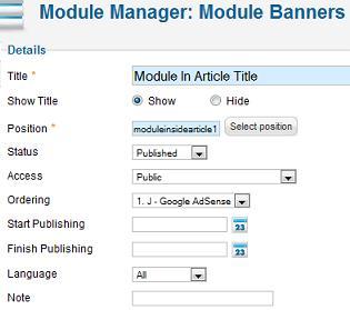 joomla show article in module