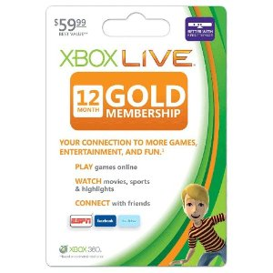 Xbox 360 Live Subscription Gold Card