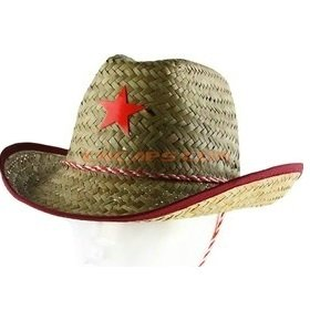 Woven badge on straw hat classic