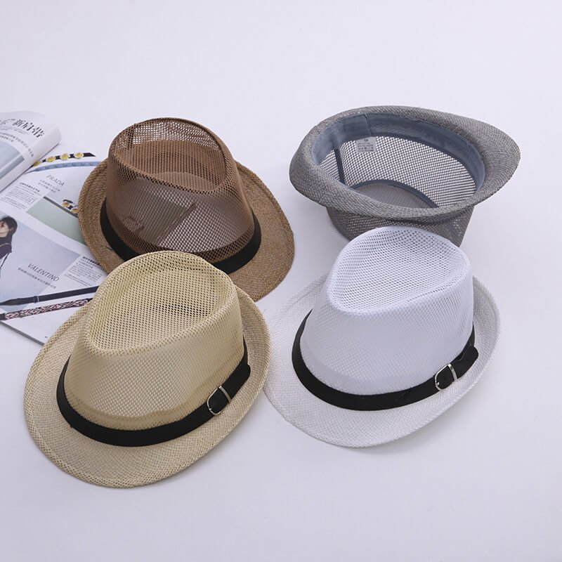 Custom mens mesh summer hat fedora style breathable - CNCAPS 57da7fc432c