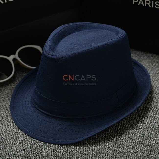 navy classic fedora hat