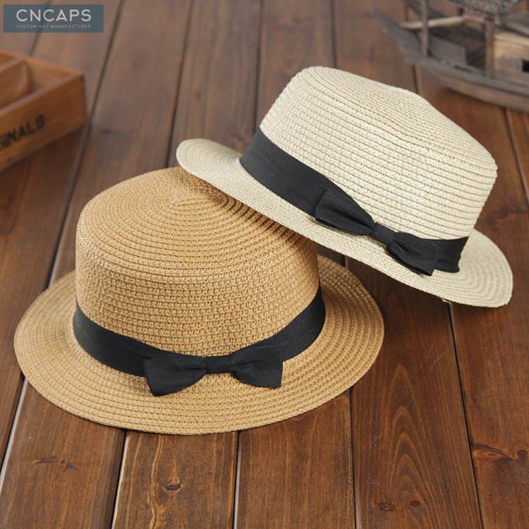 ce9a097a Custom summer hat wholesale straw hat with bowtie hatband - CNCAPS