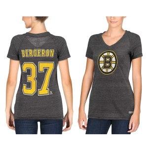 Women's CCM Patrice Bergeron Boston Bruins Name & Number Tri-Blend V-Neck T-Shirt - Black