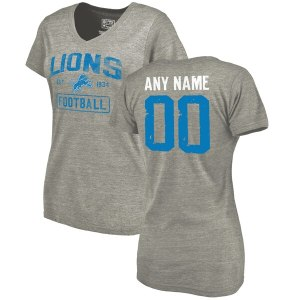 Women's Detroit Lions NFL Pro Line by Fanatics Branded Heather Gray Distressed Personalized Tri-Blend V-Neck T-Shirt
