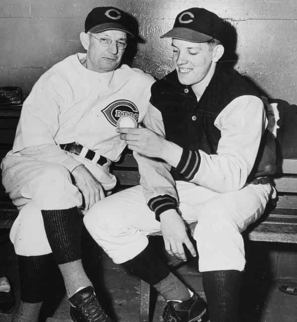 15-year old Joe Nuxhall with his manager, Bill McKechnie