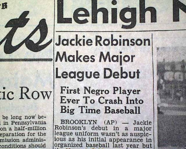 Jackie Robinson Major League Debut newspaper clipping
