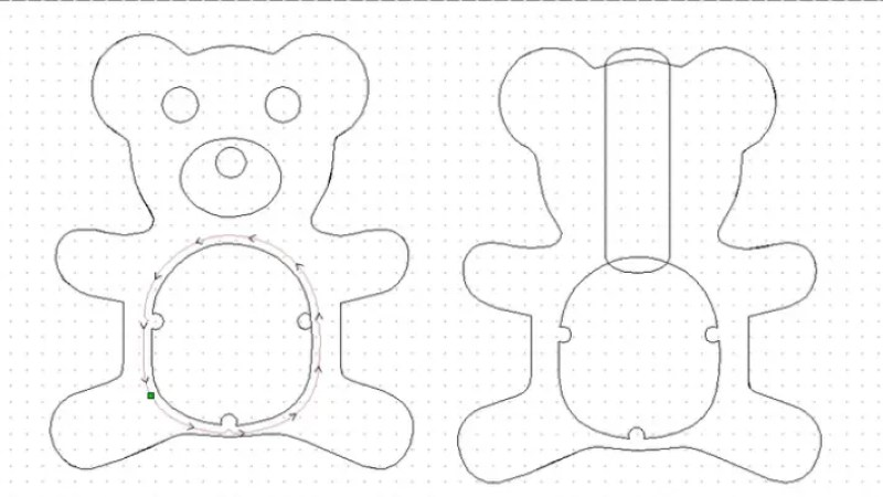 teddy bear coin bank cad outline before being machined