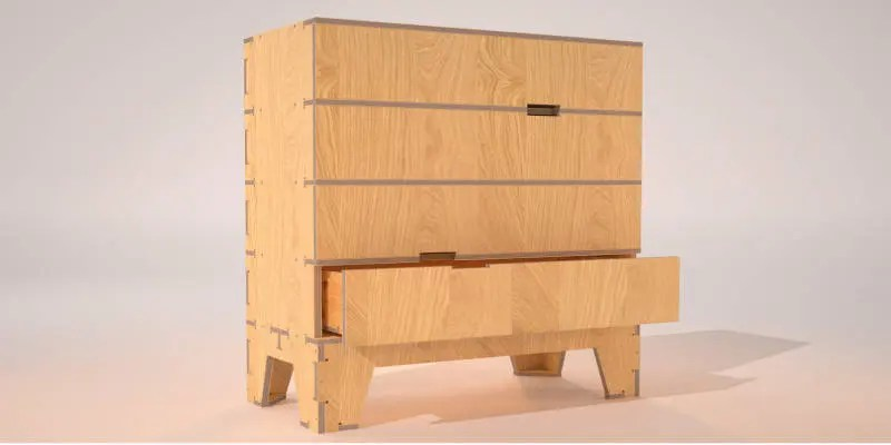 CNC Furniture Project Wooden Bedroom Drawers
