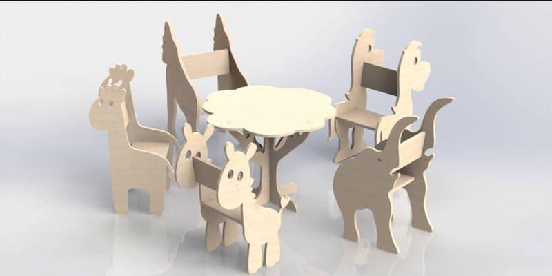 CNC Furniture Wood Dining Set
