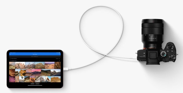 iPad Mini with USB-C connection to a camera