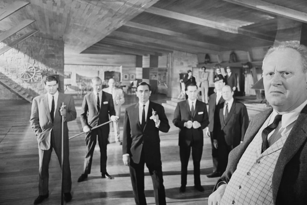 Scene from Goldfinger, with gangsters