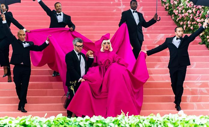 Lady Gaga at the Met Gala in a pink dress