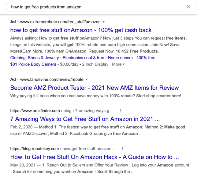 A list of ads and search results from Google offering information on how to break Amazon's rules on reviews.