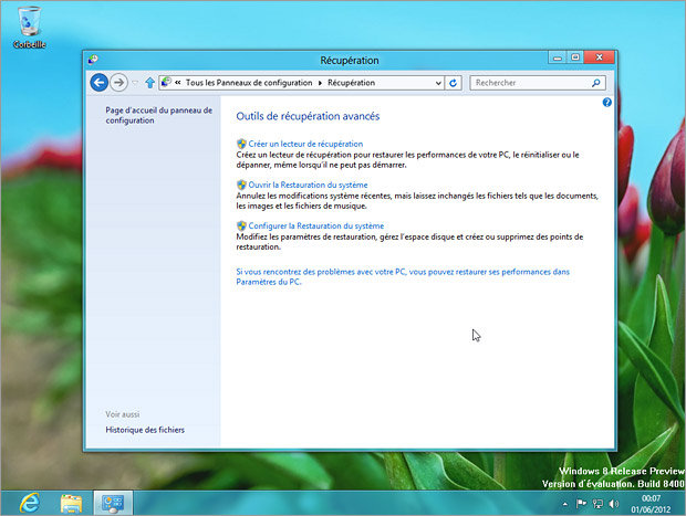 Restauration ou récupération de Windows 8