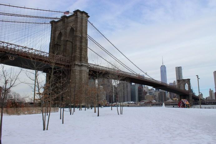 Photo prise hier au pied du pont de Brooklyn