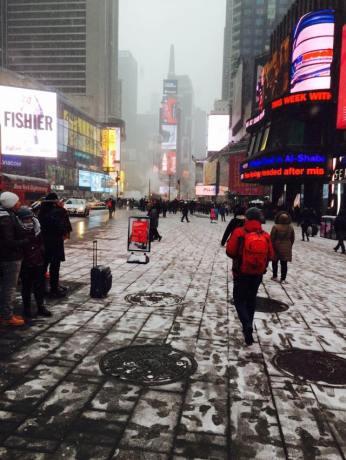 Times Square a des faux airs de station de ski