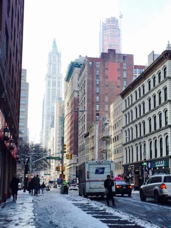 Les rues new-yorkaises auraient presque des airs de station de ski ! (Photo Stéphanie Attia)