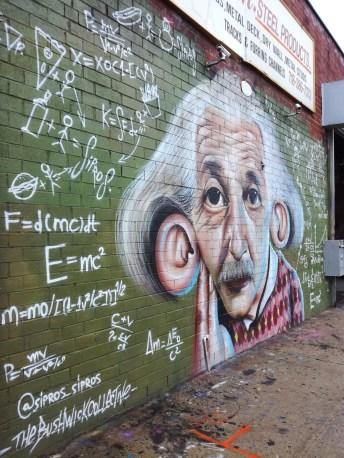 Albert Einstein sur un mur de Bushwick