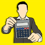 man holding calculator graphic