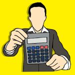 man holding calculator graphic