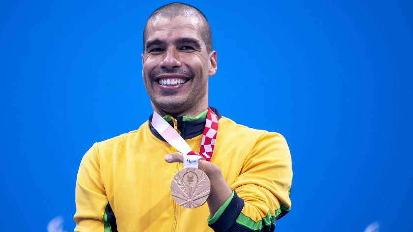 Daniel Dias won bronze in the 100 meter freestyle event in the S5 class of the Paralympics