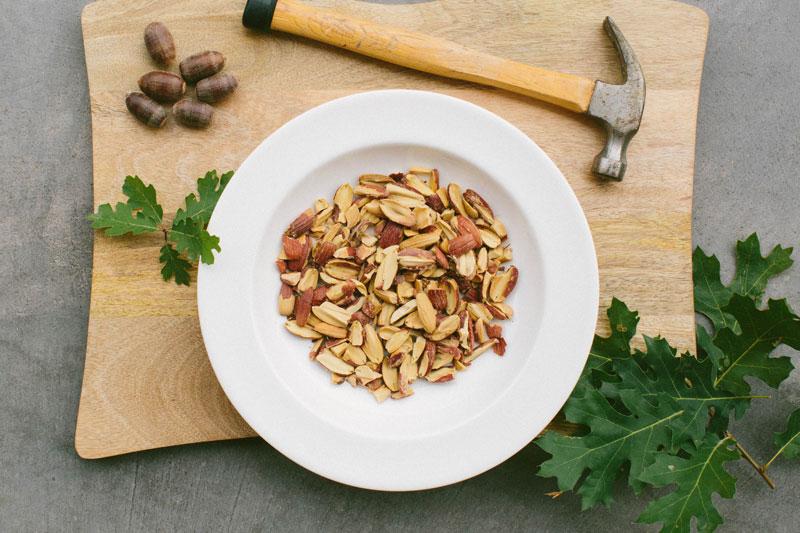 Removing acorn shells to make oak nut flour.