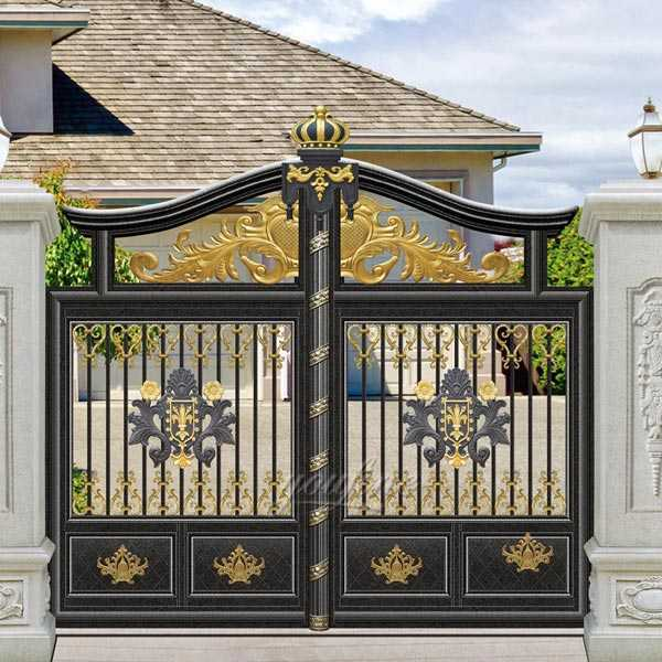 Contemporary Metal Front Door Entry Double Driveway Gates ... on Iron Get Design  id=25927