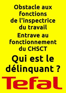 Affiche Obstacle aux fonctions de l'inspectrice du travail entrave au CHSCT qui est le délinquant ? Téfal
