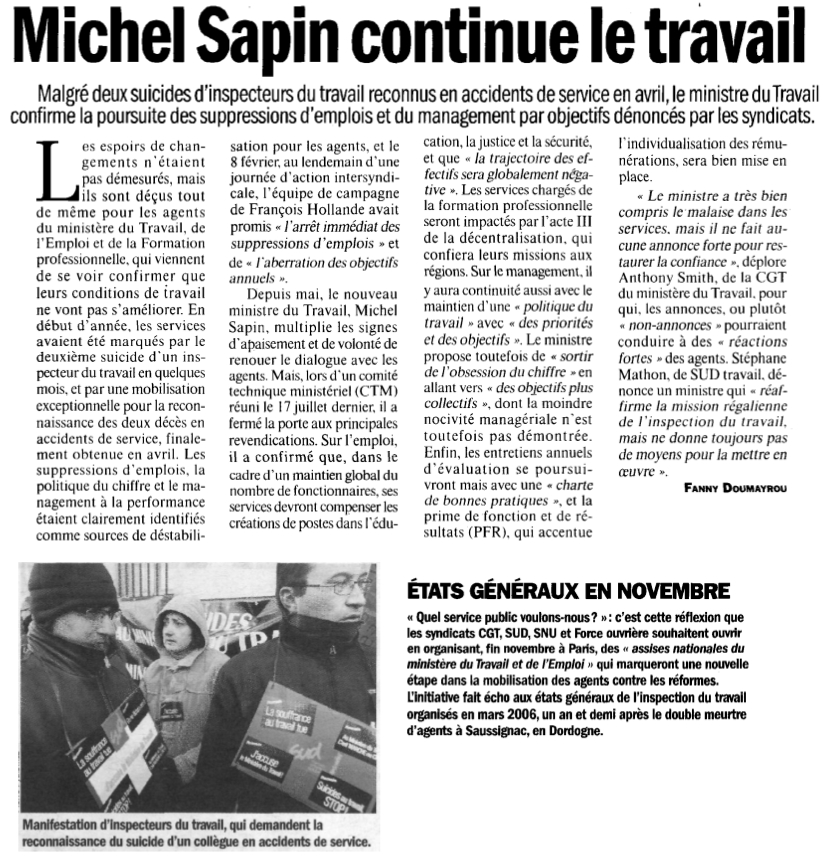 suicides Michel Sapin continue le travail