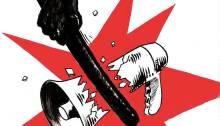répression mégaphone brisé par matraque