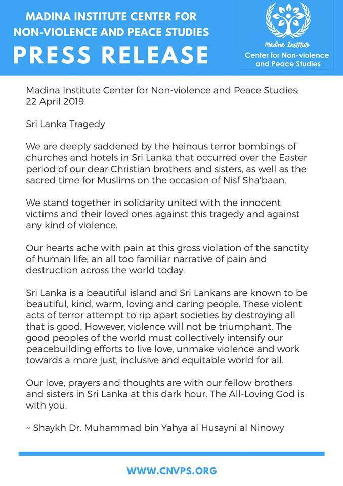 Press Release 22 April 2019 : Sri Lanka Tragedy