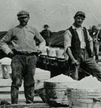 sepia photo of two men