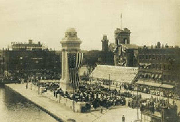 sepia photo of celebration in Clinton Square